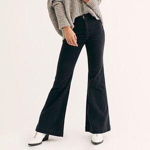 NWT Free People Rolla's East Coast Flare Pants Cord Velvet Black High Rise